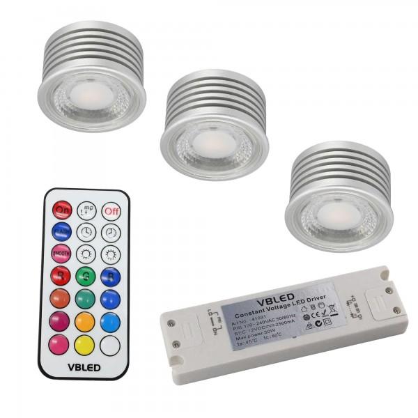 3er SET - 7W RGB+W LED Leuchtmittel / 12V AC/DC / MR16/GU5.3 / Dimmbar inkl. IR Fernbedienung