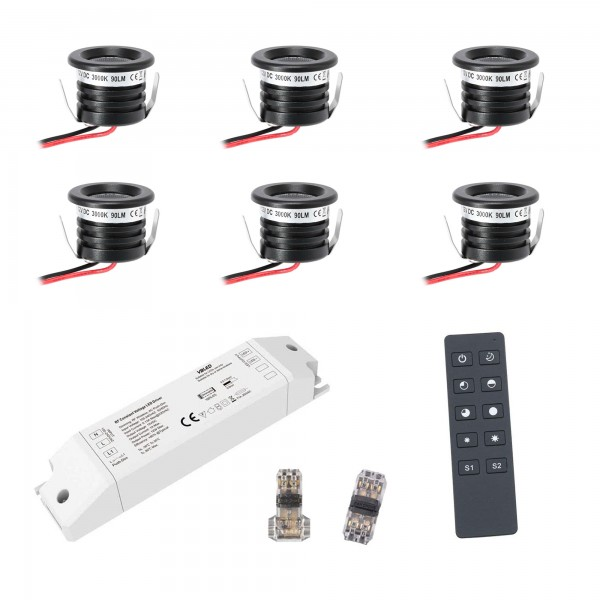 "6-er KIT ""VISUM"" 1W LED Aluminium Mini Einbaustrahler warmweiß mit RF Funk Netzteil 12VDC"