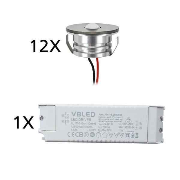 "12er Set 3W LED Aluminium Mini Einbaustrahler Spot ""Luxonix"" warmweiß mit dimmbarem Netzteil"