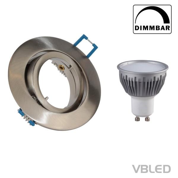 VBLED LED Einbaustrahler aus Aluminium - silber optik - rund - inkl. Fassung - 5W - GU10 LED