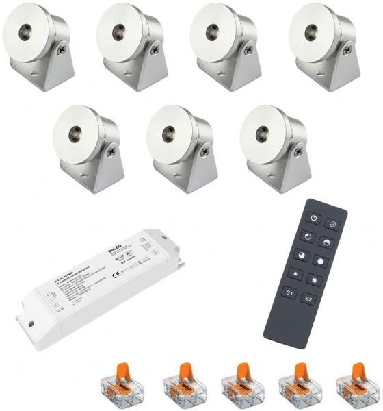 7er-Set 1W Mini Aufbaustrahler -Schwenkbar warmweiß Dimmbar mit Funk Netzteil und Fernbedienung