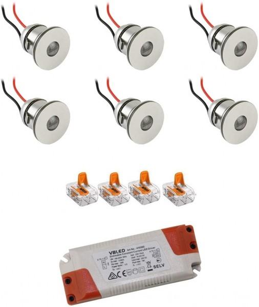 6er-Set 1W Mini LED Einbauspot Einbaustrahler warmweiß mit Netzteil