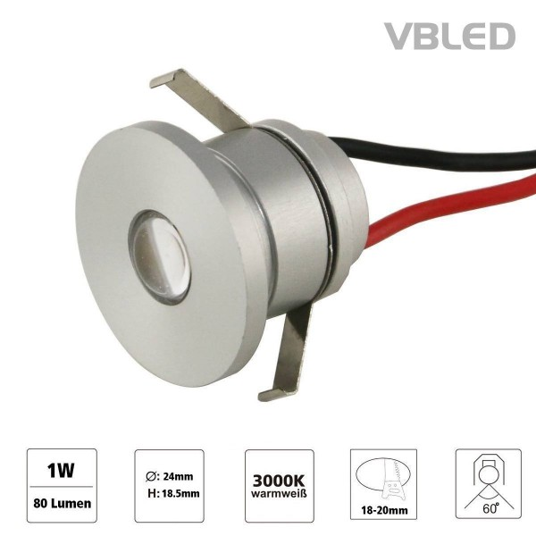 "1W VBLED LED Mini Einbauspot ""ALDYNE"" Minispot - 350mA - IP44 - 3000K"