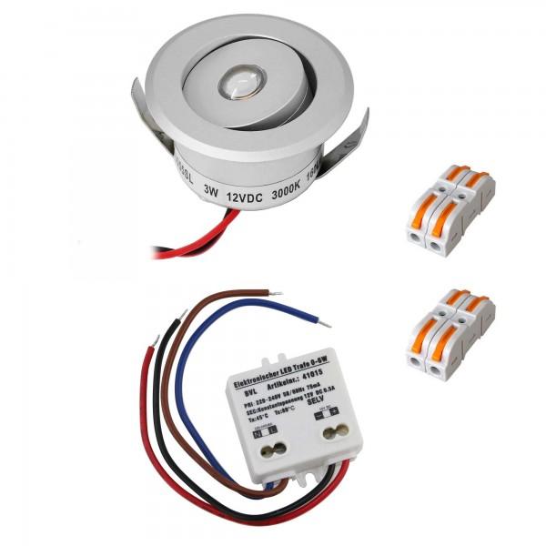 "1er-Set 3W LED Mini Einbauspot - ""OCULOS"" Minispot 3000K mit Netzteil Silber"