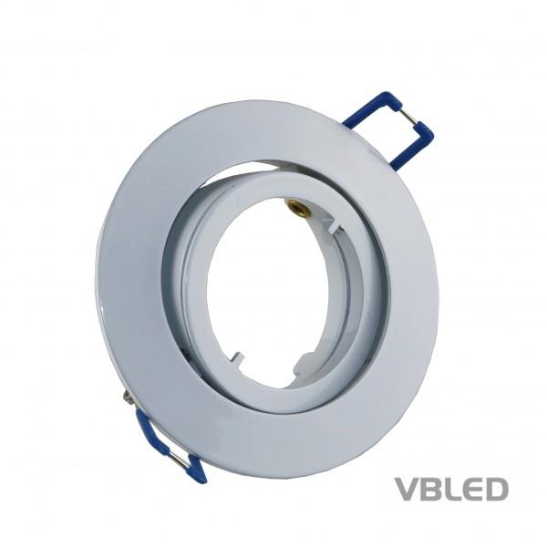 LED Einbaurahmen aus Aluminium - weiße Optik - rund - glänzend - schwenkbar