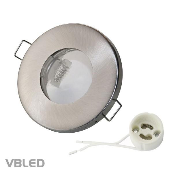 VBLED LED Einbaurahmen aus Metall - Ø68mm - silber Optik - rund - gebürstet - NICHT schwenkbar