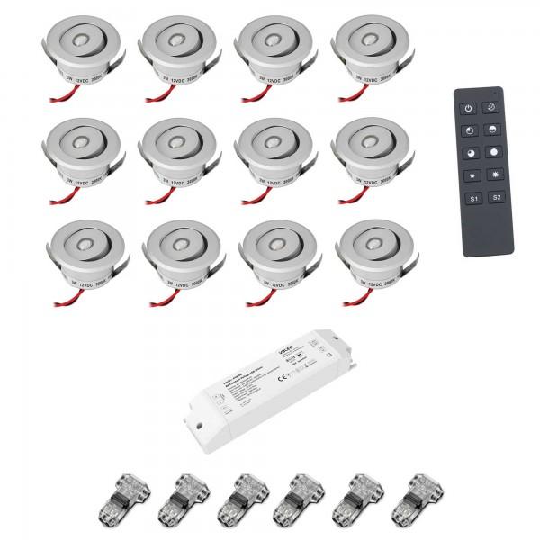 """12er-Set 3W LED Mini Einbauspot - """"OCULOS"""" Minispot 3000K mit Funk Netzteil und Fernbedienung Silber"""