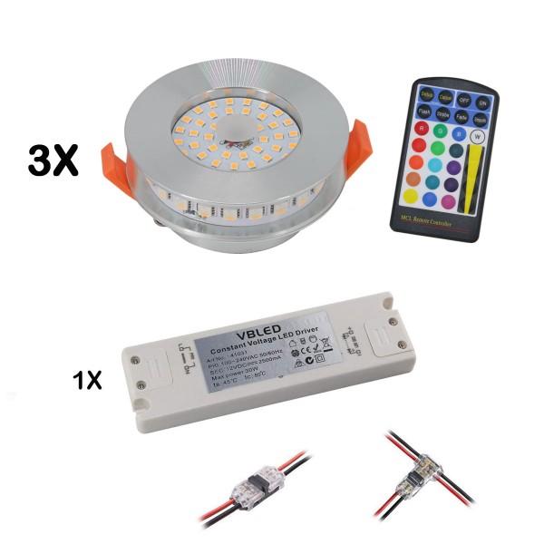 3er Set RGB+WW LED Einbauleuchten 12VDC 6W inkl. Fernbedienung und Netzteil