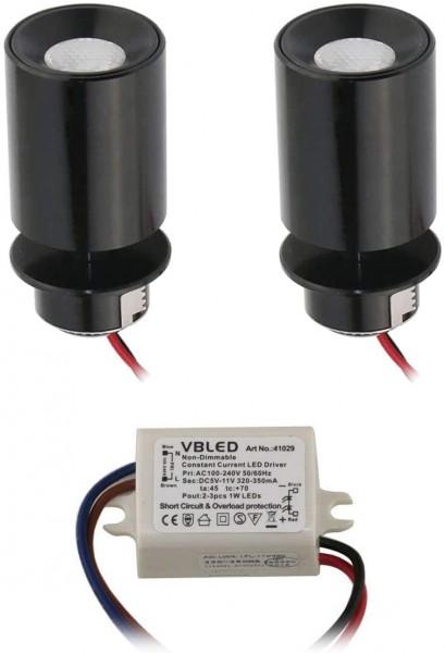 """2er KIT - LED Mini Einbaustrahler """"TINI"""" 1W Rotier- & Schwenkbar"""