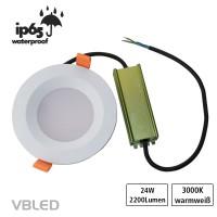 24W LED Einbauleuchte Wasserdicht IP65 230V inkl. Netzteil