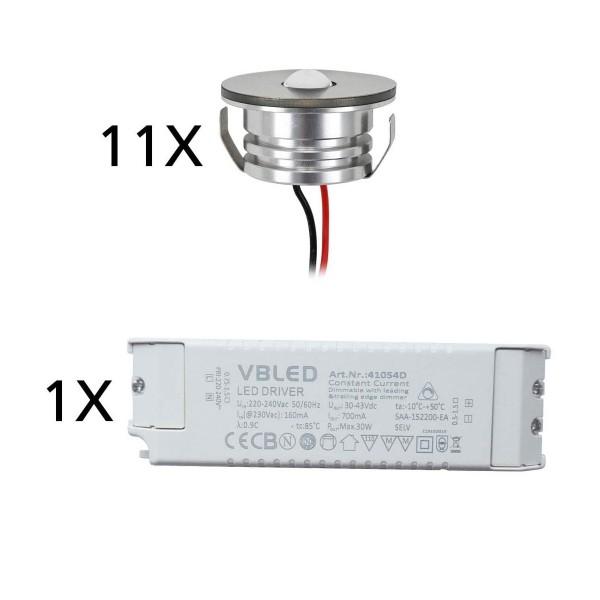 11er Set 3W LED Aluminium Mini Einbaustrahler Spot warmweiß mit dimmbarem Netzteil