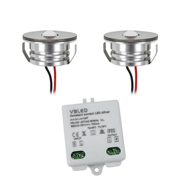 "2er Set 3W LED Aluminium Mini Einbaustrahler Spot ""Luxonix"" warmweiß mit dimmbarem Netzteil"