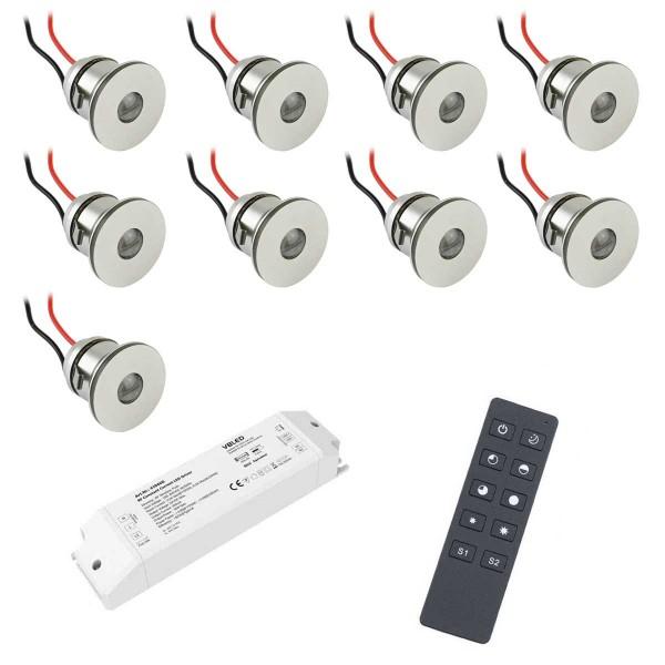9er-Funk SET -Alu LED Mini Einbaustrahler / IP44 1W / 350mA / 80lm / warmweiß…