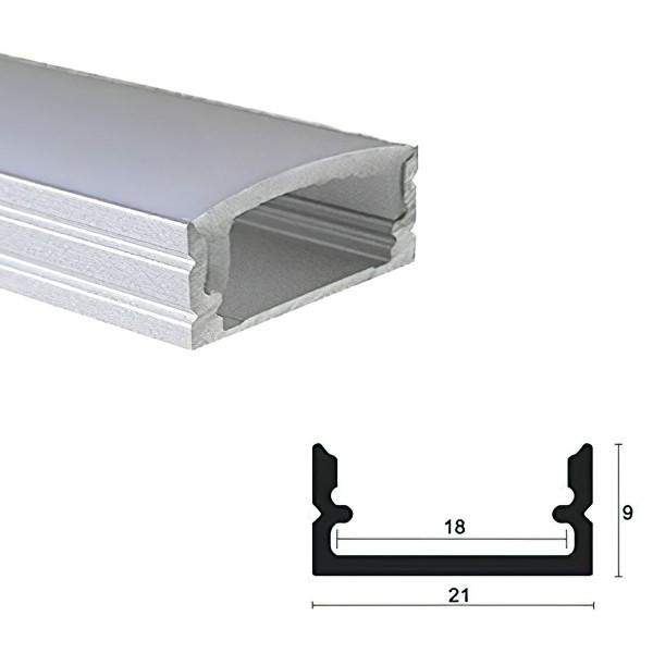 LED Alu Profile Aufputzprofil eloxiert für 16mm LED-Streifen
