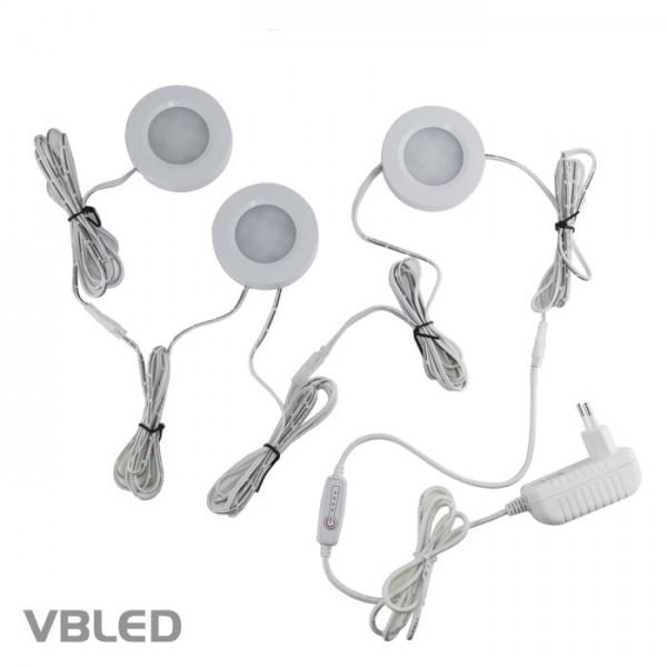 10W LED Ein- und Aufbauleuchten Set flach weiß