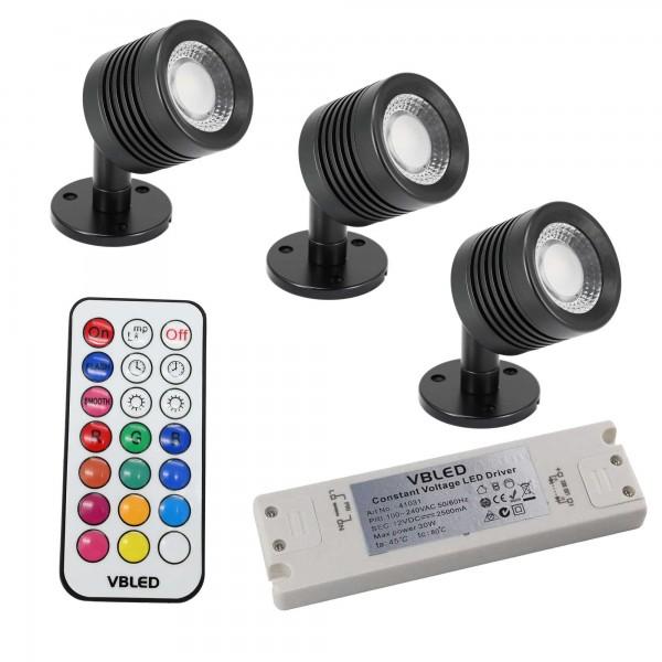 """3er SET Decken-Spot """"ENORA"""" 7W RGBW 12V mit IR Fernbedienun und Trafo"""