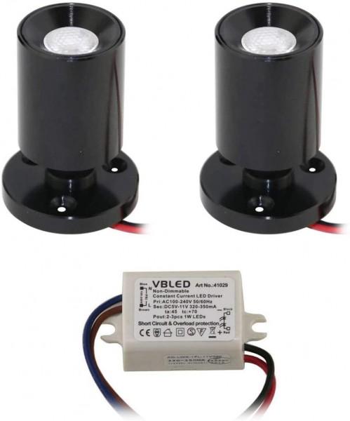 "2er KIT - LED Mini Aufbauspot ""TINI"" 1W Rotier- & Schwenkbar"