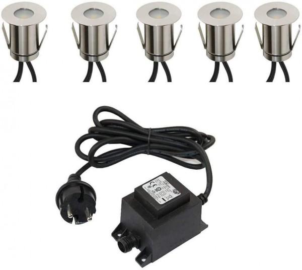 5er SET Boden-Einbaustrahler 0,3W Mini LED / kaltweiß / IP67 / aus robustem Edelstahl (befahrbar) in