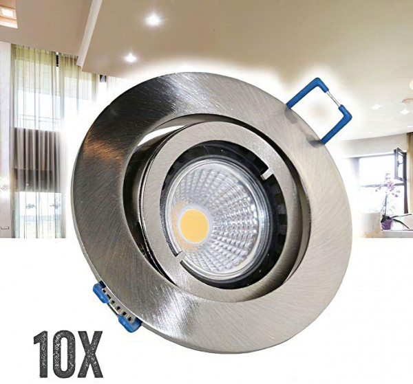 10er Set VBLED Einbaustrahler Aluminium gebürstet rund mit 3,5W COB LED Leuchtmittel
