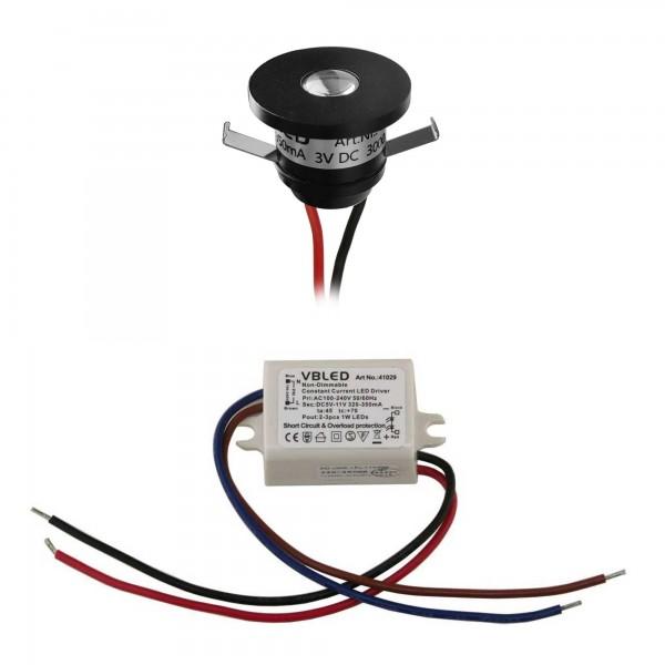 1er-Set 1W LED Aluminium Mini Einbaustrahler 1er-Set mit Netzteil - Schwarz