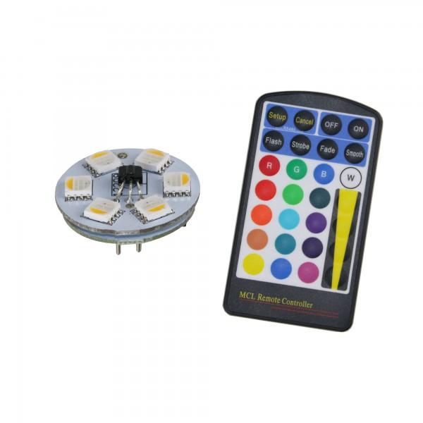 LED Leuchtmittel RGB+WW Stiftsockellampe SET inkl. IR Fernbedienung - G4 - 0,8W