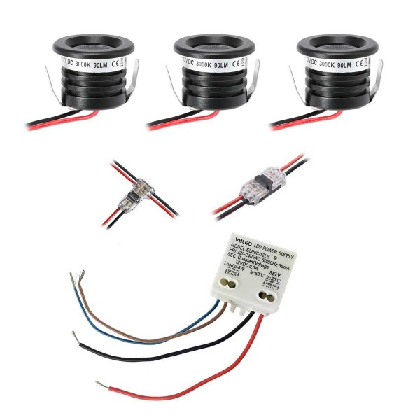"""3er KIT """"VISUM"""" 1W Mini-Einbauspot Mini Spot IP65 Warmweiss Inkl. 6W LED Trafo"""