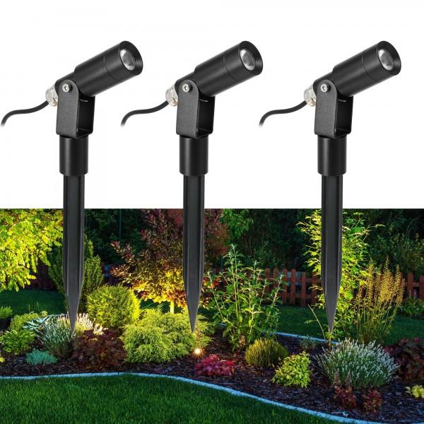 """3er Set LED Garten Strahler """"Flavius"""" 3000K 3-Stufendimmer 1W, 2W, 3W"""