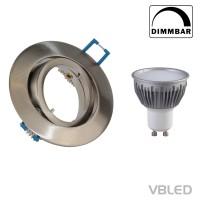 Decken-Einbaustrahler inkl. 5W LED (Dimmbar), GU10 Fassung Schwenkbar (Rund - Eisen gebürstet)