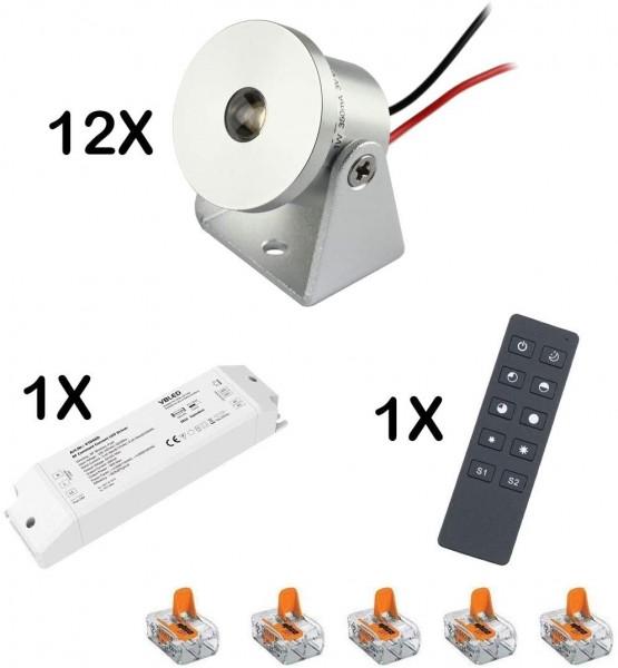 12er-Set 1W Mini Aufbaustrahler -Schwenkbar warmweiß Dimmbar mit Funk Netzteil und Fernbedienung