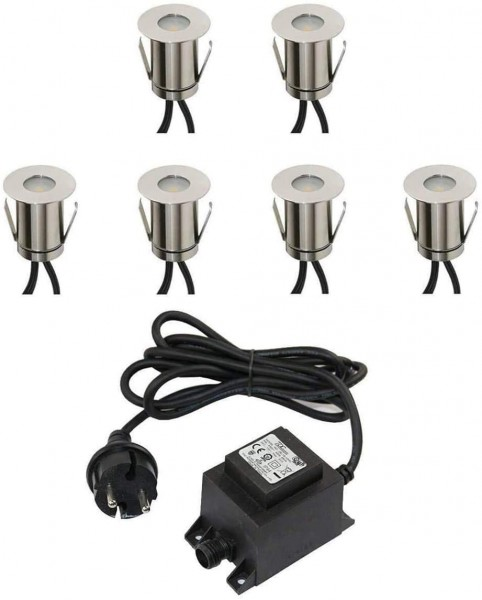 6er SET Boden-Einbaustrahler 0,3W Mini LED / kaltweiß / IP67 / aus robustem Edelstahl