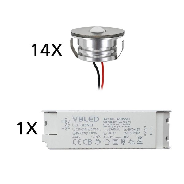 "14er Set 3W LED Aluminium Mini Einbaustrahler Spot ""Luxonix"" warmweiß mit dimmbarem Netzteil"