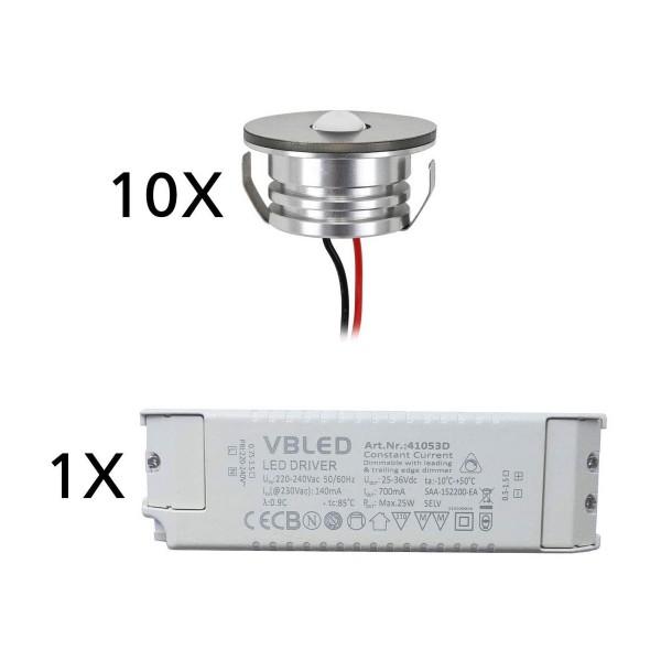 "10er Set 3W LED Aluminium Mini Einbaustrahler Spot ""Luxonix"" warmweiß mit dimmbarem Netzteil"