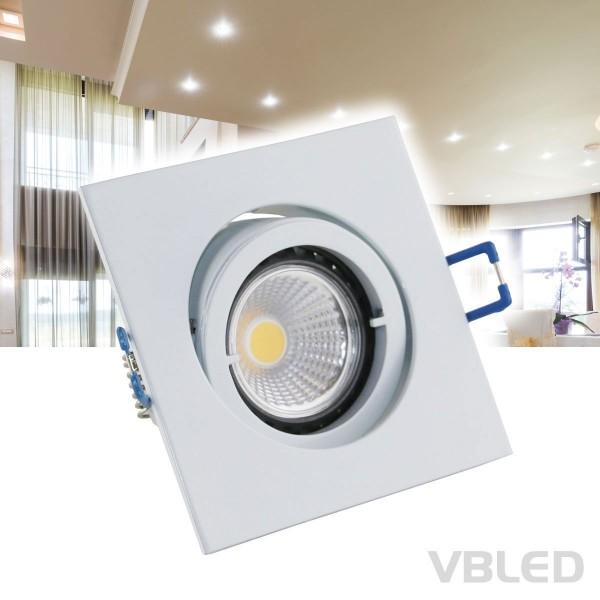 LED Einbaustrahler aus Aluminium / Weiß / eckig / inkl. 3,5W COB LED