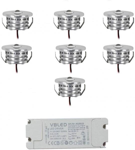 7er Set Mini Einbaustrahler Spot 3W 700mA 160lm warmweiß mit dimmbarem Netzteil