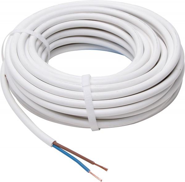 Stromkabel Schlauchleitung H03 VV-F, 2 x 0.75 mm², 20 m, weiß