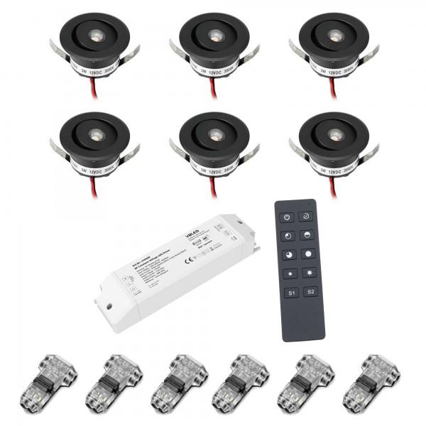 """6er-Set 3W LED Mini Einbauspot - """"OCULOS"""" Minispot 3000K mit Funk Netzteil und Fernbedienung schwarz"""