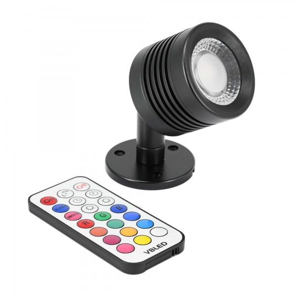 """Decken-Spot """"ENORA"""" LED Wand-/Deckenleuchte 12V 7W RGBW mit IR Fernbedienung"""