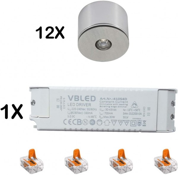 12er Set 3W LED Mini Spot/Decken-Aufbau-Spot / IP65 / WW / inkl. dimmbarer LED Netzteil