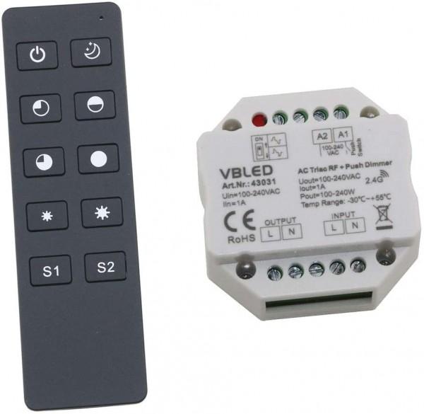2.4G RF 230V AC LED Dimmer System 1 Kanal Fernbedienung mit Dimmer