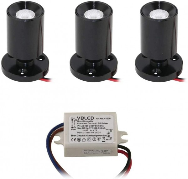"3er KIT - LED Mini Aufbauspot ""TINI"" 1W Rotier- & Schwenkbar"