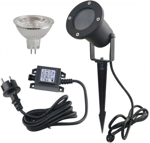 Gartenstrahler Set 12V AC IP65 inkl. Leuchtmittel 5W warmweiß und Netzteil