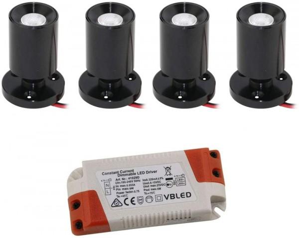 "4er KIT - LED Mini Aufbauspot ""TINI"" 1W Rotier- & Schwenkbar"
