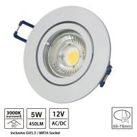 Einbaustrahler Aluminium Weiß lackiert rund inkl. Fassung mit 5W GU5.3/ MR16 LED-Leuchtmittel