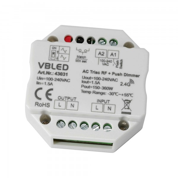 """Inatus"" LED + Halogen Dimmer 230 Volt, RF+Switch-Control, 100-240 VAC"