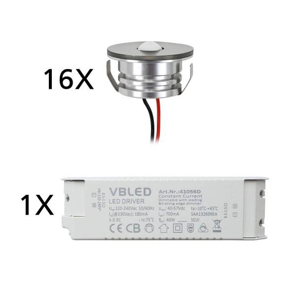 "16er Set 3W LED Aluminium Mini Einbaustrahler Spot ""Luxonix"" warmweiß mit dimmbarem Netzteil"