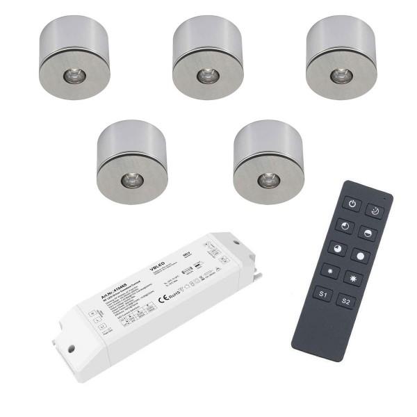5er Set 3W LED Mini Spot Aufbaustrahler warmweiß dimmbar mit Funk Netzteil und Fernbedienung