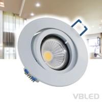 Einbaustrahler Aluminium Weiß lackiert rund schwenkbar flach mit 3,5W COB LED Leuchtmittel 230V WW