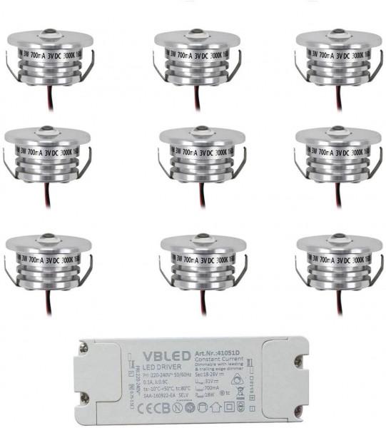 9er Set Mini Einbaustrahler Spot 3W 700mA 160lm warmweiß mit dimmbarem LED-Netzteil