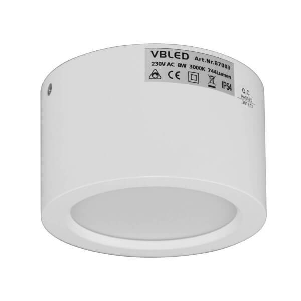 VBLED LED Aufbauleuchte in weiß 3K 8W