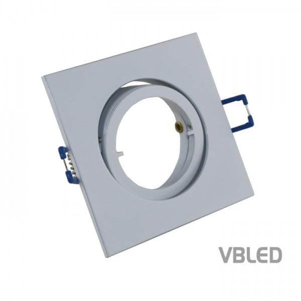 LED Einbaurahmen aus Aluminium - weiß - eckig - glänzend - schwenkbar